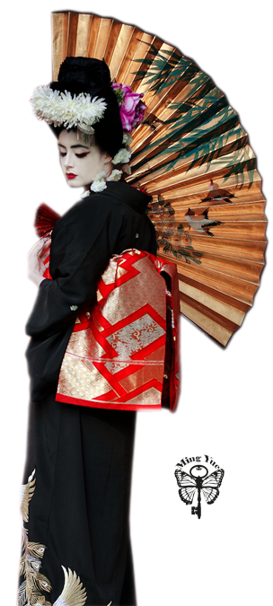 geisha éventail oiseau